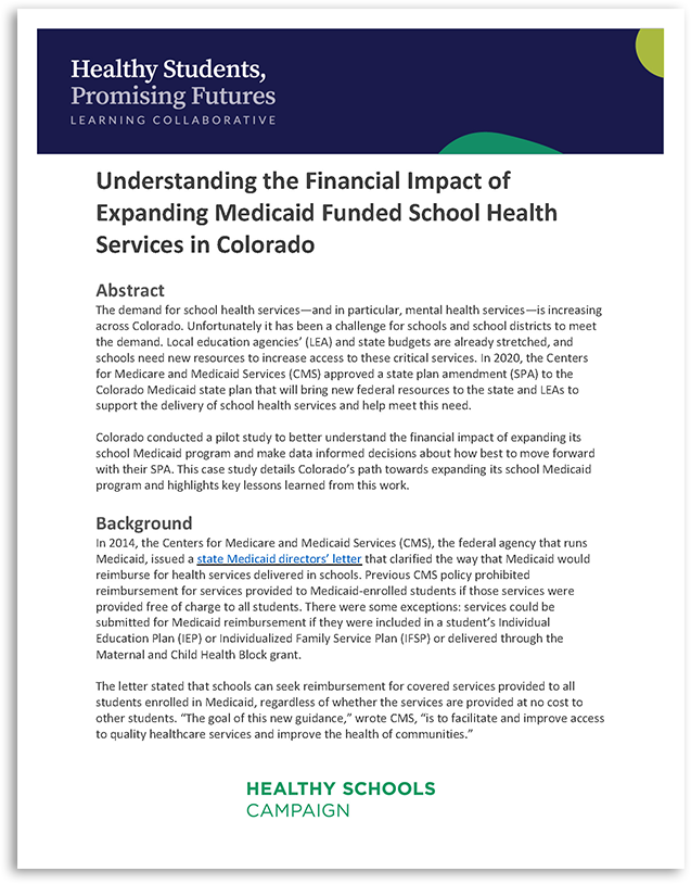 Understanding the Financial Impact of Expanding Medicaid Funded School Health Services in Colorado