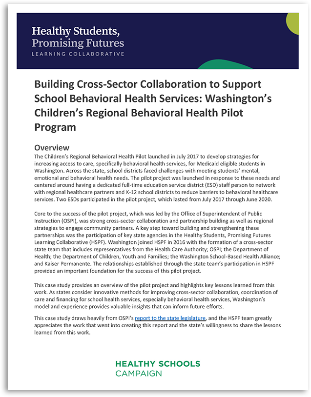 Building Cross-Sector Collaboration to Support School Behavioral Health Services: Washington's Children's Regional Behavioral Health Pilot Program